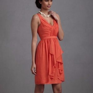 BHLDN Quillaree Coral Pink Linen and Silk Dress